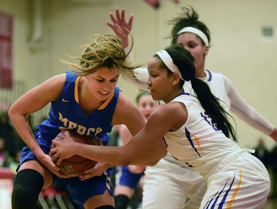 Mercy defeats Career, 53-34, Wednesday, Dec. 27, 2017, at the third annual Robert Saulsbury Invitational at Saulsbury gymnasium at Wilbur Cross High School in New Haven. Photo: Catherine Avalone, Hearst Connecticut Media / New Haven Register