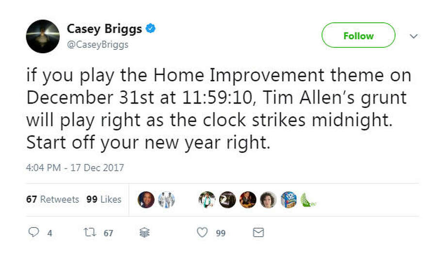 """""""if you play the Home Improvement theme on December 31st at 11:59:10, Tim Allen's grunt will play right as the clock strikes midnight. Start off your new year right.""""Source: Twitter Photo: Twitter"""