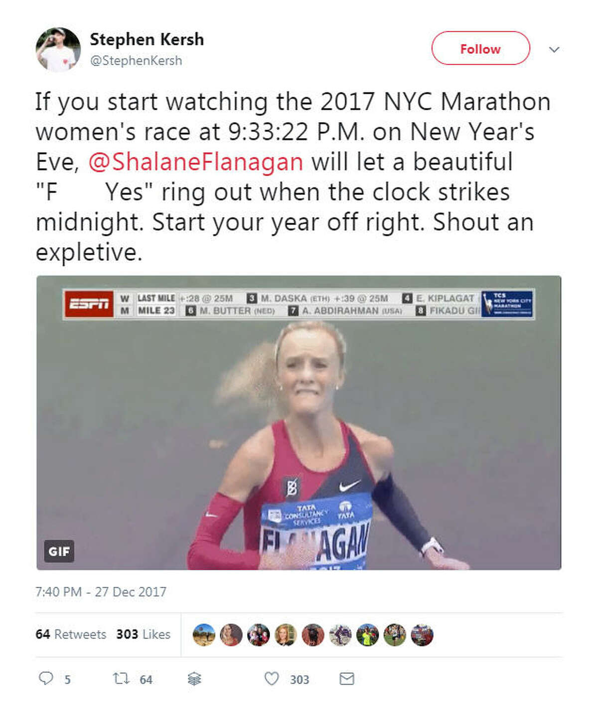"""""""If you start watching the 2017 NYC Marathon women's race at 9:33:22 P.M. on New Year's Eve, @ShalaneFlanagan will let a beautiful 'F*** Yes' ring out when the clock strikes midnight. Start your year off right. Shout an expletive."""" Source: Twitter"""