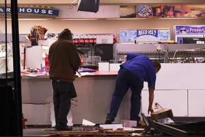 A man crashed into a gas station in Bellaire on Dec. 27, briefly pinning the store clerk behind the counter.