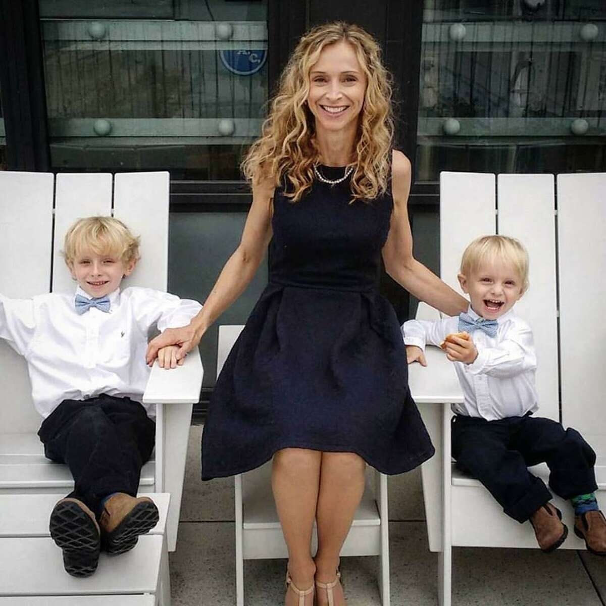 Author Sara Goff, of Westport, with her two young sons.