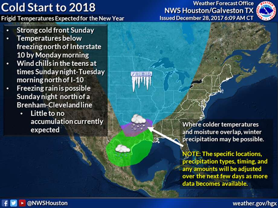 The Bayou City will usher out 2017 while dealing with colder temperatures and a soggy atmosphere, according to a new National Weather Service report. On Sunday a mass of colder Canadian air will hit the Houston and that will also bring a small chance of winter precipitation that night north of Houston, according to the NWS.See what kind of weather Houston saw in 2017... Photo: National Weather Service