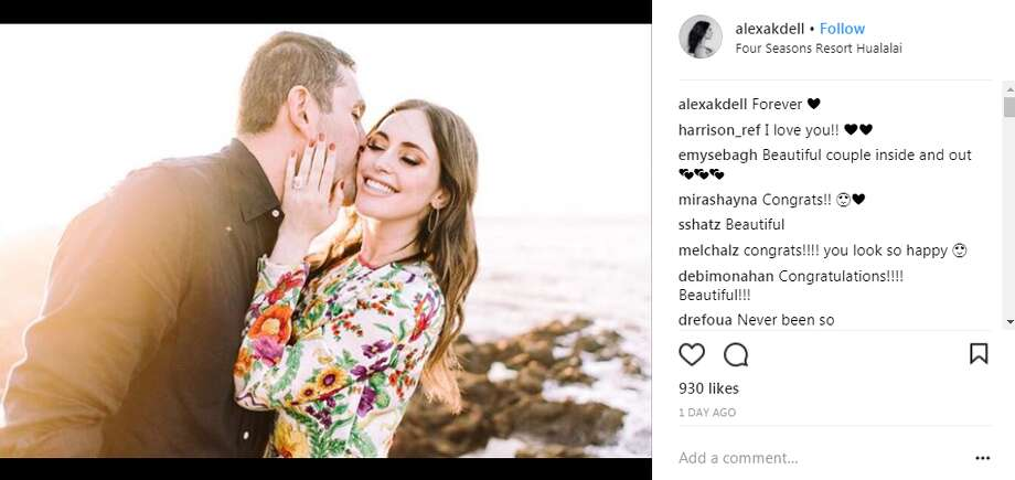 Alexa Dell's fiance, Harrison Refoua, proposed to the daughter of the computer magnate with an engagement ring that Daily Mail estimated to be worth $3 million.