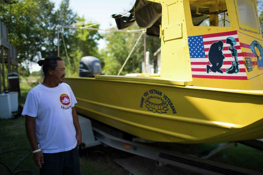 Huyn Cong Tu, a Vietnamese-American fisherman proudly shows one of his boats that memorializes the Vietnam War veterans, Friday, Sept. 15, 2017, in San Leon. ( Marie D. De Jesus / Houston Chronicle ) Photo: Marie D. De Jesus, Staff / © 2017 Houston Chronicle