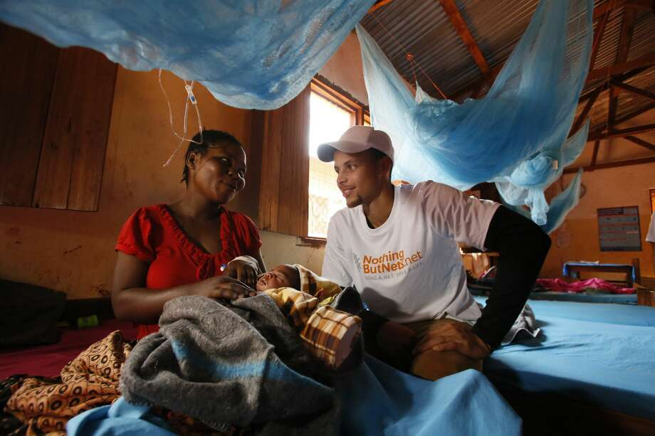Warriors star Stephen Curry on a Nothing But Nets observation trip to Tanzania in July 2013. Photo: Stuart Ramson