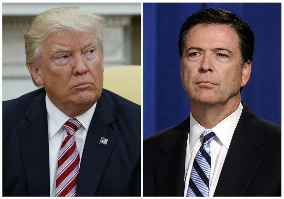 In this combination photo, President Donald Trump, left, appears in the Oval Office of the White House in Washington on May 10, 2017, and FBI Director James Comey appears at a news conference in Washington on June 30, 2014. Photo: Associated Press