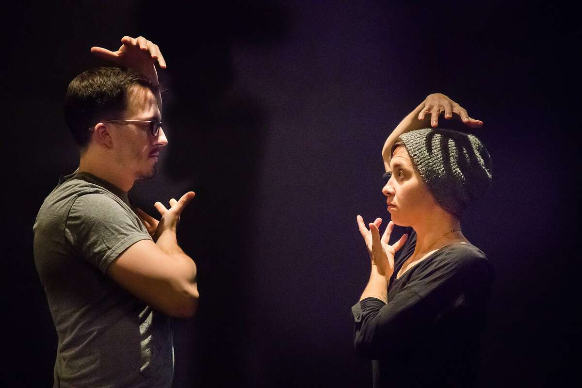 """Soren Santos and Stephanie DeMott rehearsing in Mugwumpin's """"In Event of Moon Disaster."""" on Tuesday, Dec. 19, 2017 in San Francisco, Calif."""