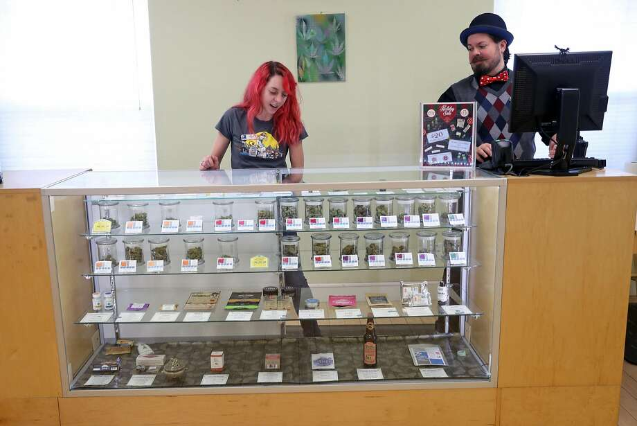 Chelsi Lee (center) and Be Wilson work as preparations are made for the Jan. 1 kickoff of recreational cannabis sales in California at SPARC in Sebastopol. Photo: Scott Strazzante, The Chronicle