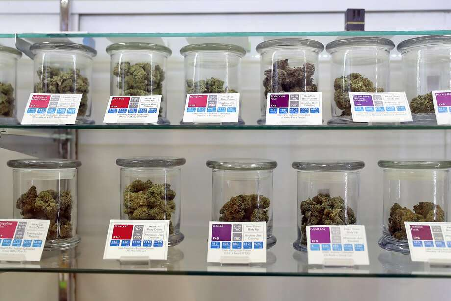 A display case of cannabis as preparations are made for the Jan. 1 kickoff of recreational sales in California at SPARC in Sebastopol. Photo: Scott Strazzante, The Chronicle