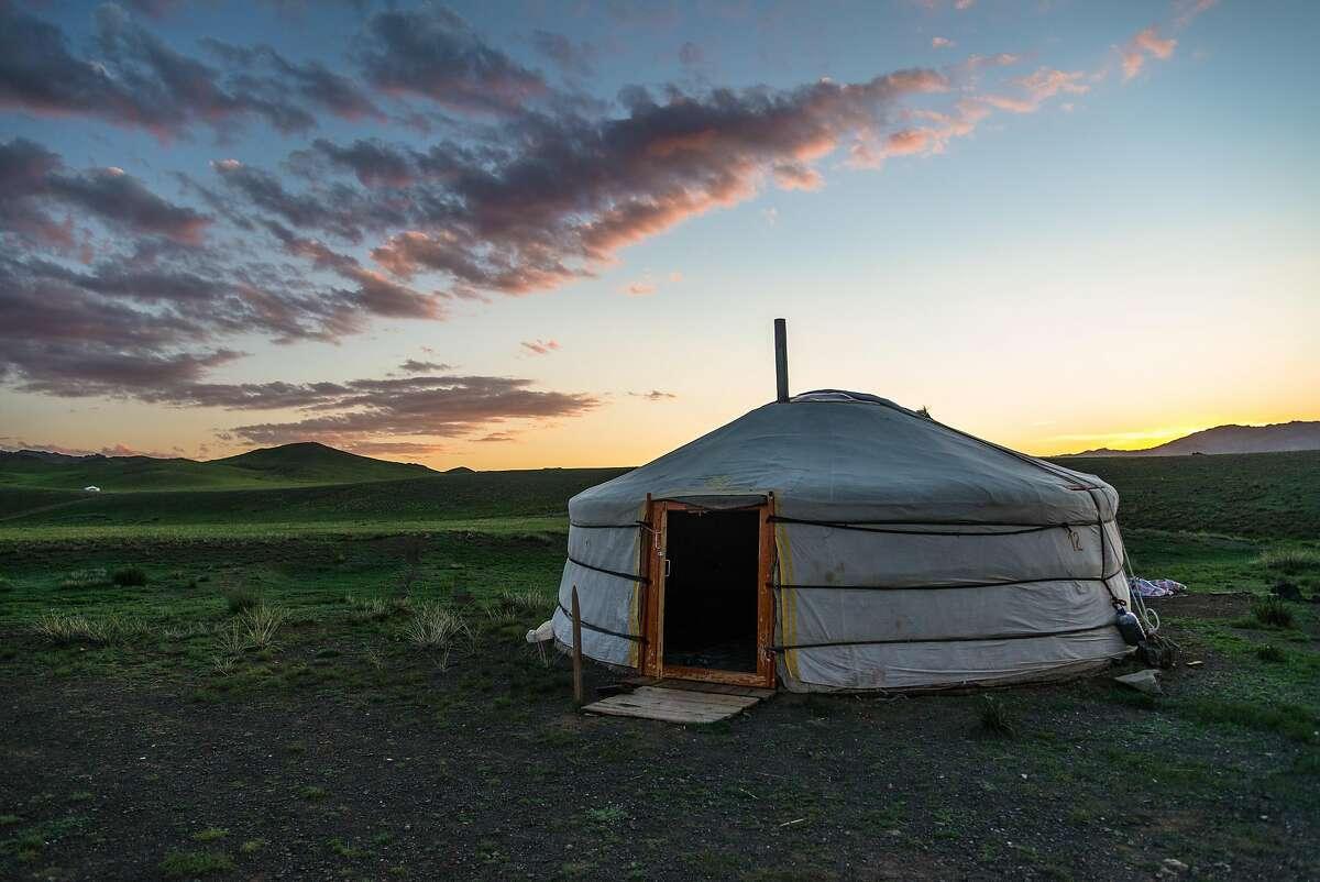 A get (yurt) at Yolyn Am Gobi Desert, Mongolia.