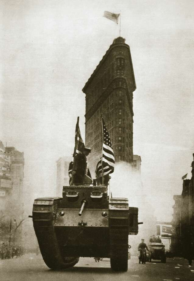 British tank 'Britannia' on Fifth Avenue, New York City, circa 1918. The tank was in New York to aid the Liberty Loan drive. Liberty Loans were war bonds sold in the United States from 1917-1918 to support the allied war effort. Americans were encouraged to buy the bonds as their patriotic duty and they raised around $17 billion. Photo: Heritage Images/Getty Images