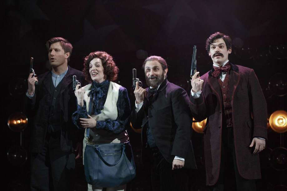 "From left, P.J. Griffith, Julia Murney, Stephen DeRosa and Robert Lenzi in ""Assassins"" at Yale Rep. Photo: Carol Rosegg / Yale Rep / Carol Rosegg"
