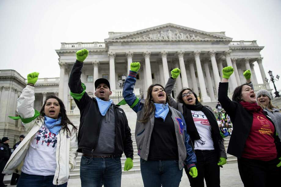 Congress went into recess without acting on Dreamer legislation. Demonstrators rally in support of the Deferred Action for Childhood Arrivals program outside the Capitol building in Washington, Dec. 6. Photo: ERIC THAYER /NYT / NYTNS