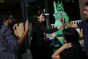 From left: Jeff Gomez, Charlotte Nagy, Loreny De Leon and Leo Nava at Charlie's Corner bookstore on Tuesday, Nov. 28, 2017, in San Francisco, Calif.