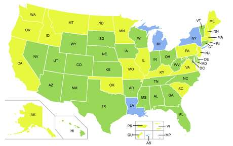 Non-compliant states in yellow. Compliant stats in green (Source: DHS) Photo: DHS