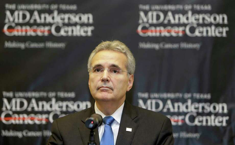 Dr. Ronald DePinho, president of The University of Texas MD Anderson Cancer Center, is shown during a news conference at the MD Anderson South Campus Research II Building, 7435 Fannin, about a reduction in the institution's workforce Thursday, Jan. 5, 2017, in Houston.  DePinho resigned on March 7, as one of several Several high-profile executives to abruptly leave top jobs within the Texas Medical Center. ( Melissa Phillip / Houston Chronicle ) Photo: Melissa Phillip, Staff / © 2016 Houston Chronicle