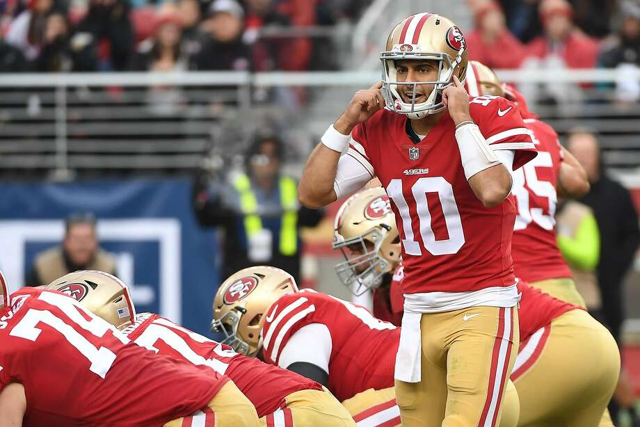 SANTA CLARA, CA - DECEMBER 24:  Jimmy Garoppolo #10 of the San Francisco 49ers signalsto his team during their NFL game against the Jacksonville Jaguars at Levi's Stadium on December 24, 2017 in Santa Clara, California.  (Photo by Robert Reiners/Getty Images) Photo: Robert Reiners, Getty Images