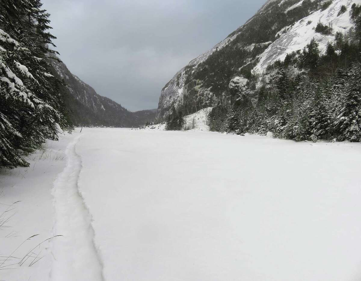 A snowshoe trench in the Adirondack High Peaks. The state issued an advisory Feb. 13, 2021, that outdoor enthusiasts should be wary of the risk of avalanches in the High Peaks now. (Herb Terns / Times Union)