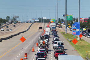 Traffic backs up along 45 near Lake Woodlands Drive, Saturday, Oct. 4, 2014, in Conroe. Interstate 45 will be shut down in both directions from Woodlands Parkway to Highway 242 this weekend for construction. (Cody Duty / Houston Chronicle)