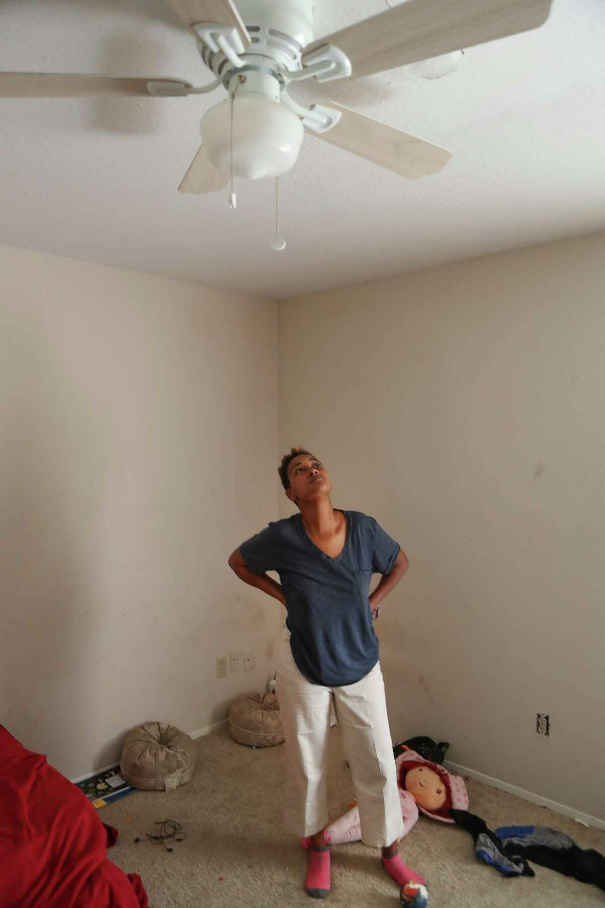 Cherika Argus, one of the victims of the Briscoe's Place fire, an unregulated rooming house with 20 or so windowless bedrooms rented out to people who needed a cheap place to live, talks about life after the fire Wednesday, Dec. 20, 2017, in Houston. ( Steve Gonzales / Houston Chronicle )