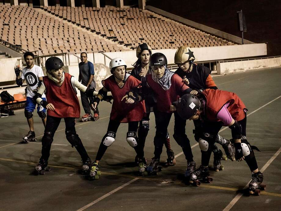 Women on the Cairollers roller derby team, the sport's first and only club in Egypt, train in Cairo. Photo: LAURA BOUSHNAK, NYT