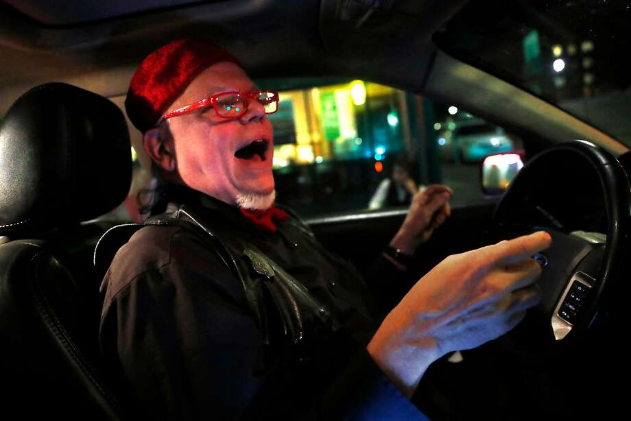 Buzz Brooks entertains riders in his Kabaret Kab in San Francisco, Calif., on Thursday, November 30, 2017. Photo: Scott Strazzante, The Chronicle