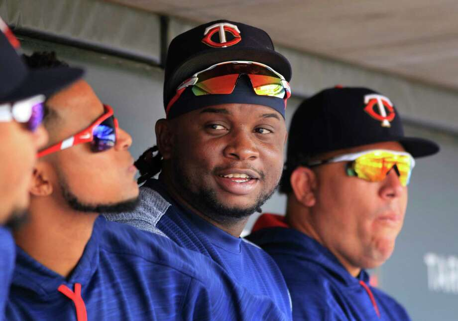 File-This Aug. 6, 2017, file photo shows Minnesota Twins third baseman Miguel Sano sitting in the dugout against the Texas Rangers in the sixth inning during a baseball game on  in Minneapolis.  A photographer is accusing  Sano of grabbing her wrist and trying to kiss her and pull her through a door after a 2015 autograph session. Betsy Bissen accused Sano on Thursday, Dec. 28, 2017, in a tweet, saying what he did amounted to assault. (AP Photo/Andy Clayton-King, File) Photo: ANDY CLAYTON-KING / FR51399 AP