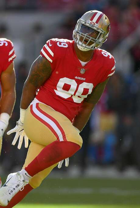 SANTA CLARA, CA - DECEMBER 17:  DeForest Buckner #99 of the San Francisco 49ers celebrates after sacking quarterback Marcus Mariota #8 of the Tennessee Titans during their NFL football game at Levi's Stadium on December 17, 2017 in Santa Clara, California.  (Photo by Thearon W. Henderson/Getty Images) Photo: Thearon W. Henderson, Getty Images