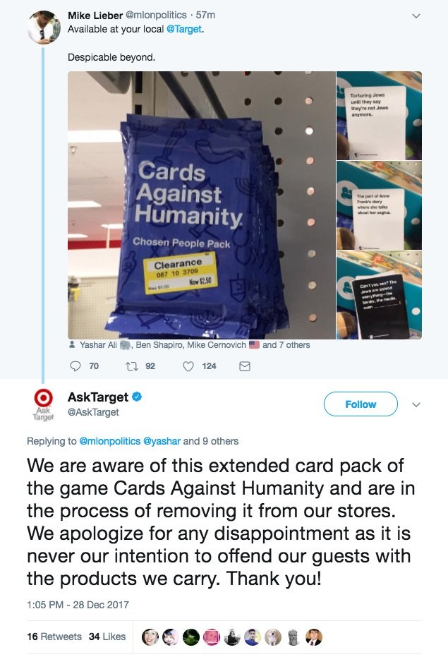 Image Result For Target Forced To Apologize After Selling A Card Game That Jokes About