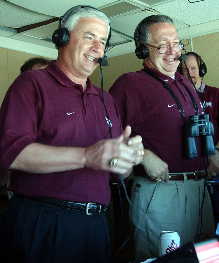 Texas A&M's new head football coach Dennis Francione spent the entire duration of the Aggies' spring game along side announcer Dave South (right) in the broadcast booth at Kyle Field Saturday. APRIL 12, 2003 TOM REEL/STAFF Photo: TOM REEL, STAFF / SAN ANTONIO EXPRESS-NEWS