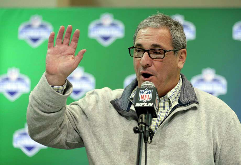 File-This March 1, 2017, file photo shows former Carolina Panthers general manager Dave Gettleman speaking during a press conference at the NFL Combine in Indianapolis. The New York Giants have hired Gettleman as their general manager. The Giants (2-13) announced the hiring of the 66-year-old Gettleman on Thursday, Dec. 28, 2017, and planned to introduce him at a news conference Friday. (AP Photo/Michael Conroy) Photo: Michael Conroy / Copyright 2017 The Associated Press. All rights reserved.