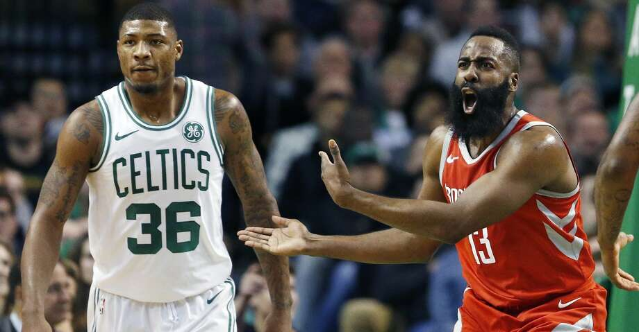 Houston Rockets' James Harden (13) protests a call beside Boston Celtics' Marcus Smart (36) during the first quarter of an NBA basketball game in Boston, Thursday, Dec. 28, 2017. (AP Photo/Michael Dwyer) Photo: Michael Dwyer/Associated Press