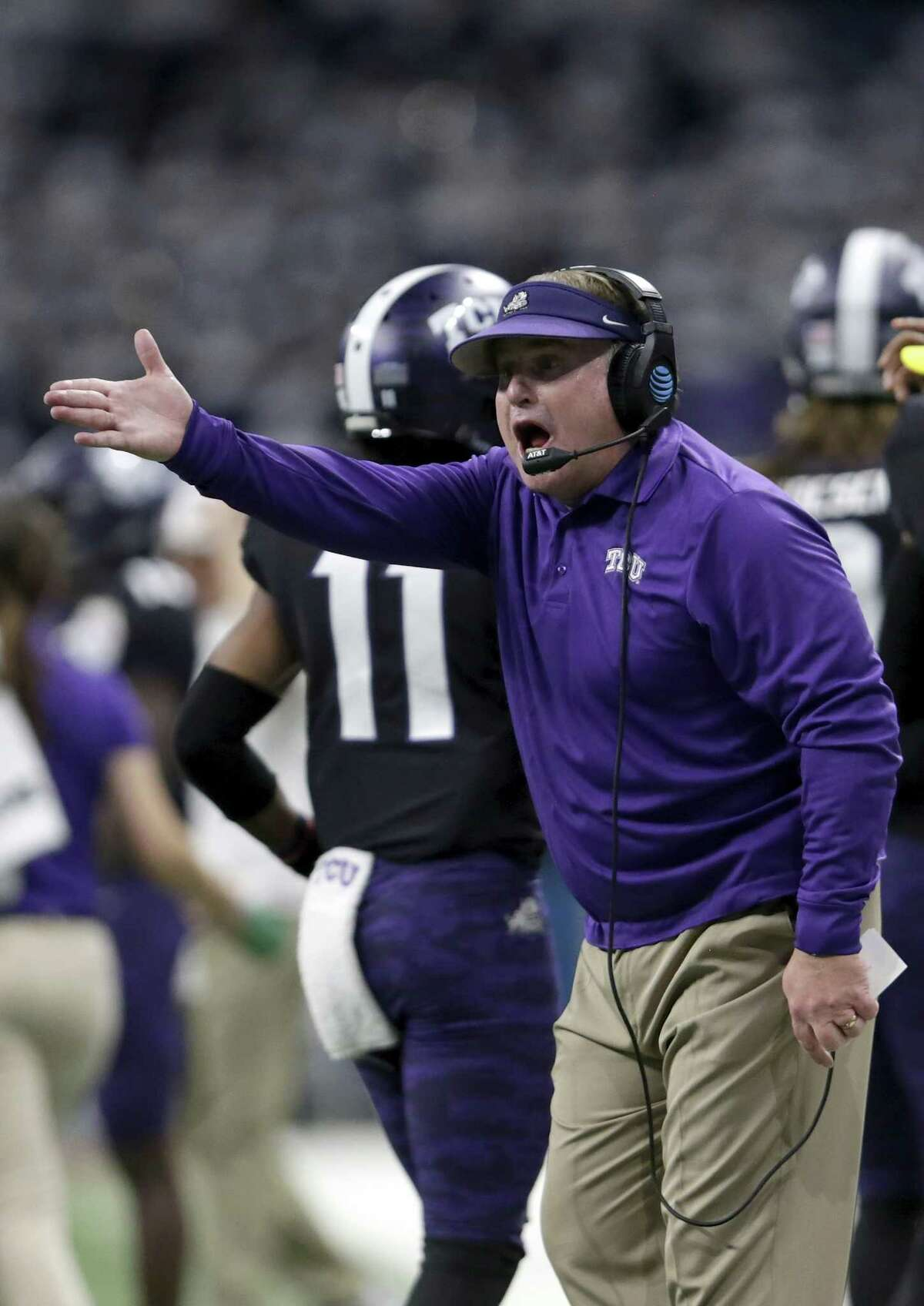 SAN ANTONIO, TX - DECEMBER 28: Head coach Gary Patterson of the TCU Horned Frogs reacts on the sideline in the second quarter against the Stanford Cardinal during the Valero Alamo Bowl at the Alamodome on December 28, 2017 in San Antonio, Texas.