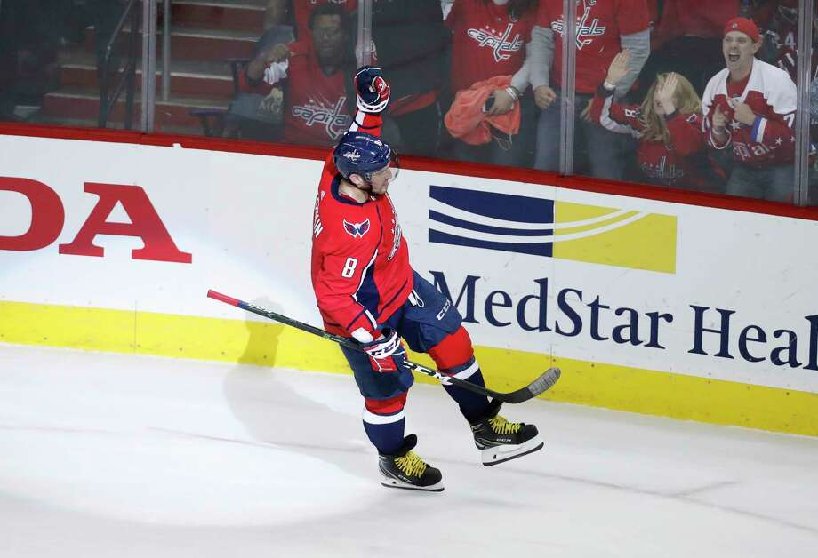Washington Capitals left wing Alex Ovechkin (8), from Russia, celebrates the only goal of the shootout in an NHL hockey game against the Boston Bruins, Thursday, Dec. 28, 2017, in Washington. The Capitals won 4-3. (AP Photo/Alex Brandon) Photo: Alex Brandon / Copyright 2017 The Associated Press. All rights reserved.