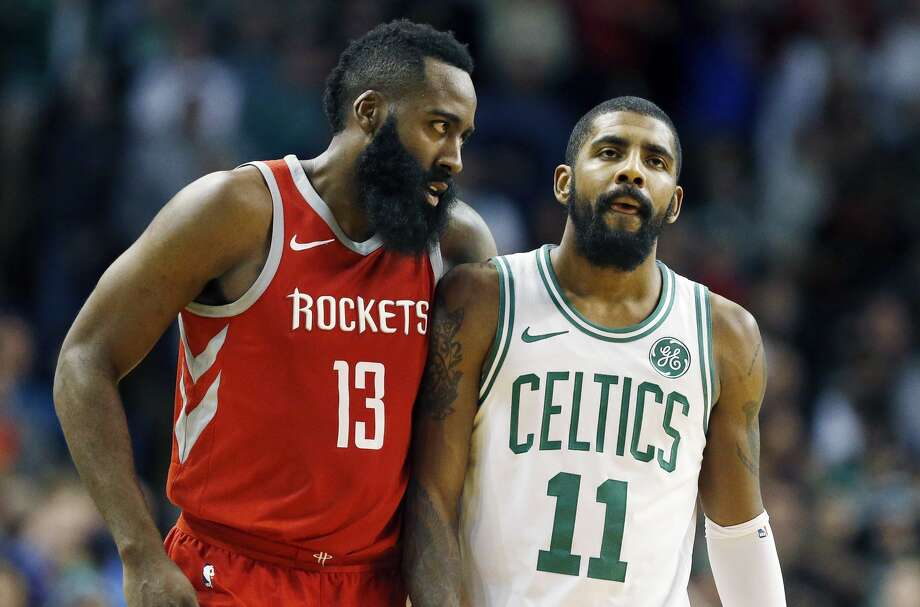 The Rockets' James Harden and Celtics' Kyrie Irving meet again Saturday as two of the NBA's elite squads face off at Toyota Center. Photo: Michael Dwyer/Associated Press