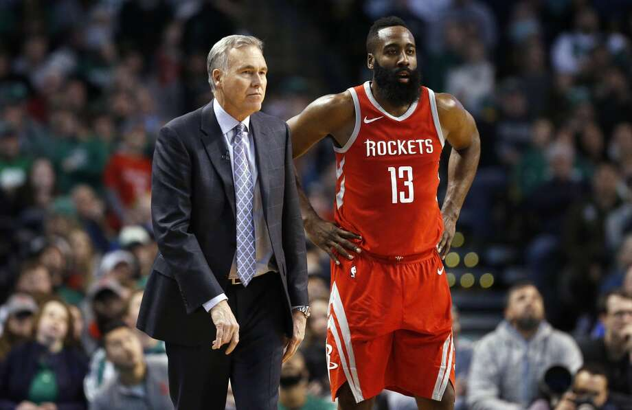 Houston Rockets head coach Mike D'Antoni stands with James Harden (13) during the third quarter of an NBA basketball game against the Boston Celtics in Boston, Thursday, Dec. 28, 2017. The Celtics won 99-98. (AP Photo/Michael Dwyer) Photo: Michael Dwyer/Associated Press