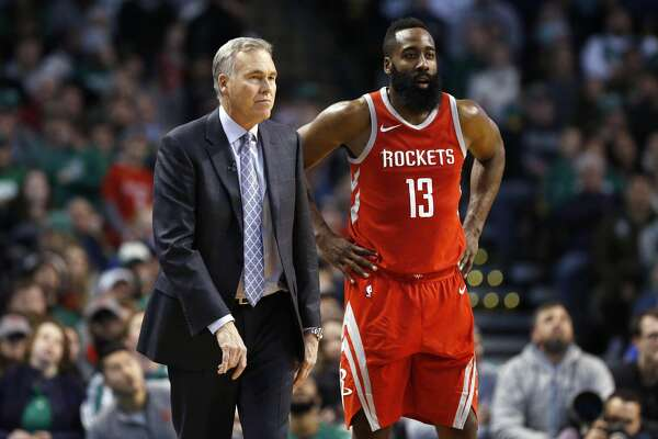 317618e1a6a8 1of6Houston Rockets head coach Mike D Antoni stands with James Harden (13)  during the third quarter of an NBA basketball game against the Boston  Celtics in ...
