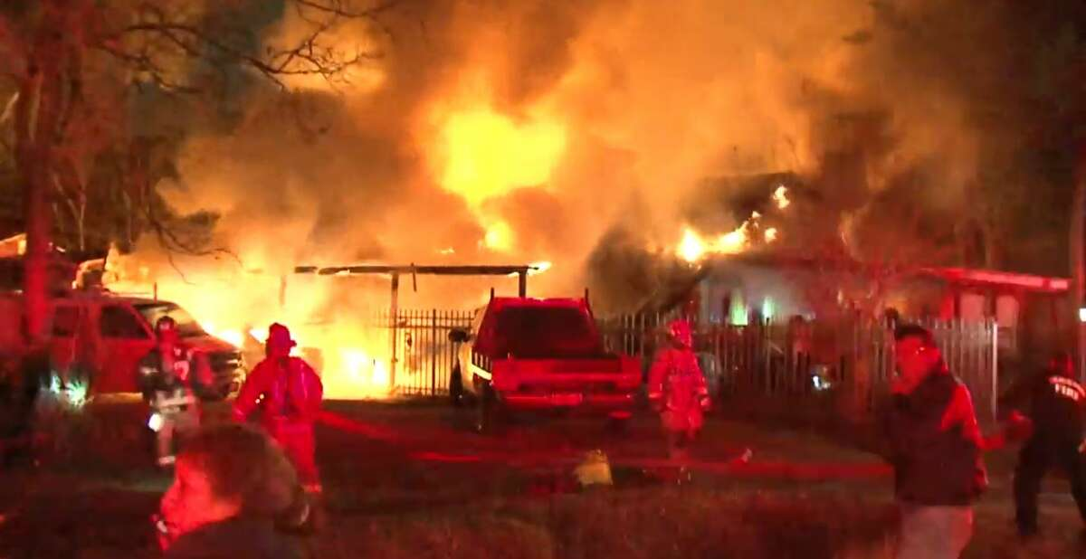 Firefighters battle a blaze on Friday, December 29, 2017, at a residence near the 6700 block of Carver Road, about 2.5 miles west of I-45 and Little York Road. (Metro Video)