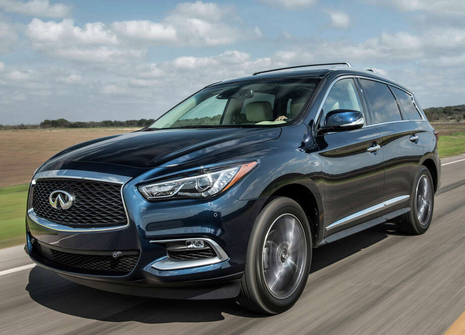 The 2018 Infiniti QX60 is a three-row, seven-passenger premium crossover utility vehicle with a 3.5-liter V-6 engine, continuously variable automatic transmission and either front- or all-wheel drive. Photo: Infiniti / © 2017 Infiniti