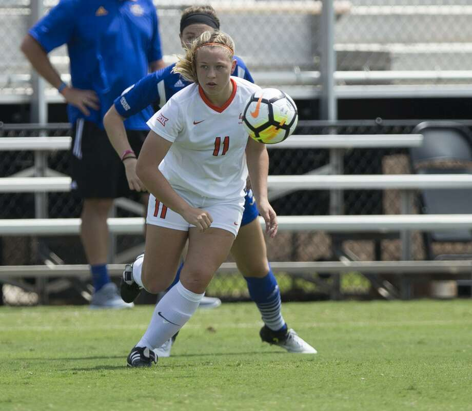 Taylor Olson in action on Aug. 20, 2017 during the Oklahoma State-UMKC game in Stillwater, Oklahoma. Photo: Bruce Waterfield /Oklahoma State / Oklahoma State University
