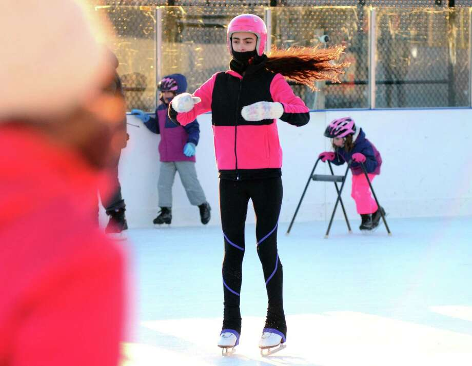 Savanna Shettler, 13, of Westport, takes part in open skate at the Westport PAL Rink at Longshore on Wednesday. Photo: Christian Abraham / Hearst Connecticut Media / Connecticut Post