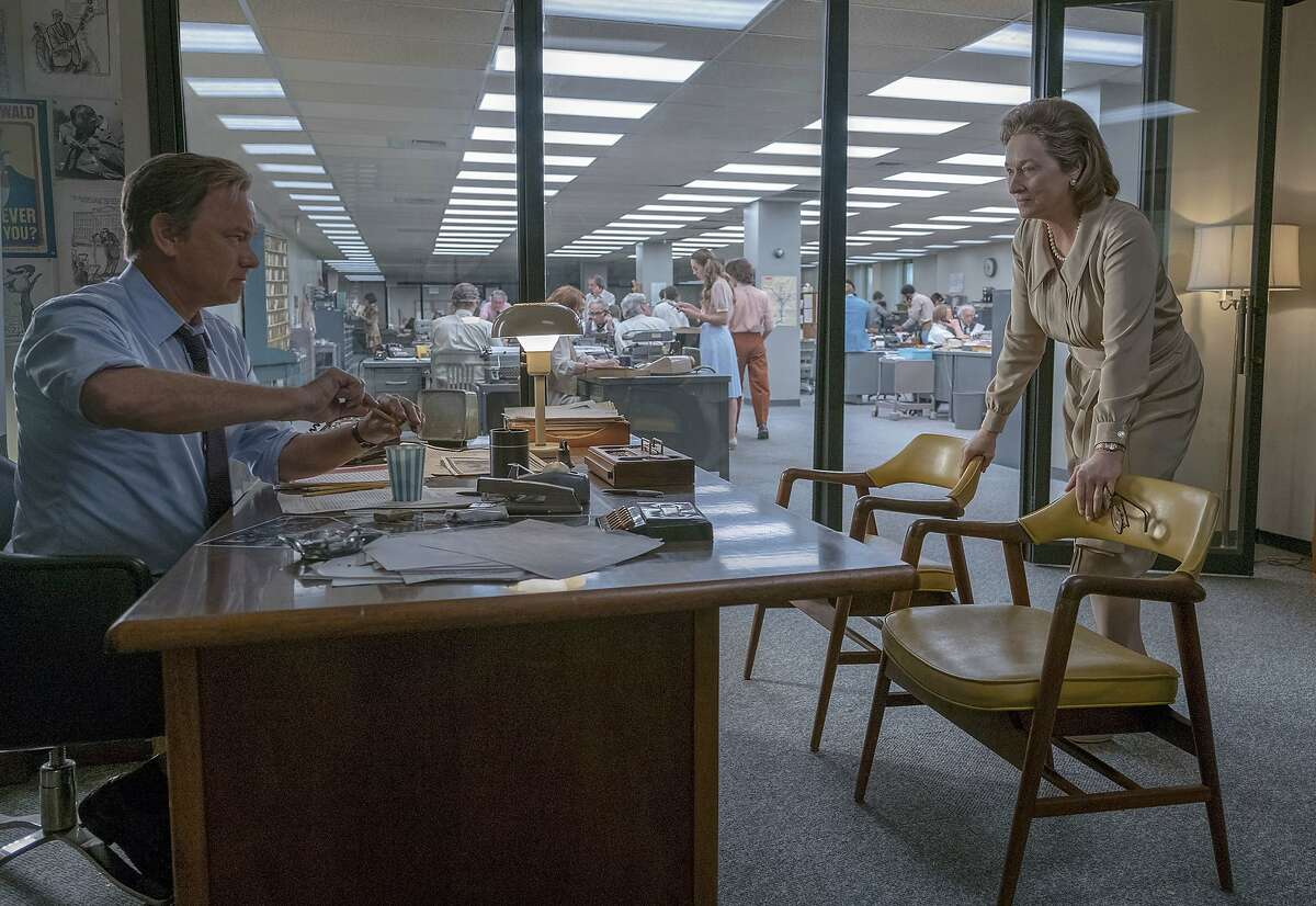 """In this image released by 20th Century Fox, Tom Hanks portrays Ben Bradlee, left, and Meryl Streep portrays Katharine Graham in a scene from """"The Post."""" The film was nominated for a Golden Globe award for best motion picture drama on Monday, Dec. 11, 2017. The 75th Golden Globe Awards will be held on Sunday, Jan. 7, 2018 on NBC. (Niko Tavernise/20th Century Fox via AP)"""