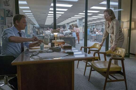 "In this image released by 20th Century Fox, Tom Hanks portrays Ben Bradlee, left, and Meryl Streep portrays Katharine Graham in a scene from ""The Post."" The film was nominated for a Golden Globe award for best motion picture drama on Monday, Dec. 11, 2017. The 75th Golden Globe Awards will be held on Sunday, Jan. 7, 2018 on NBC. (Niko Tavernise/20th Century Fox via AP)"