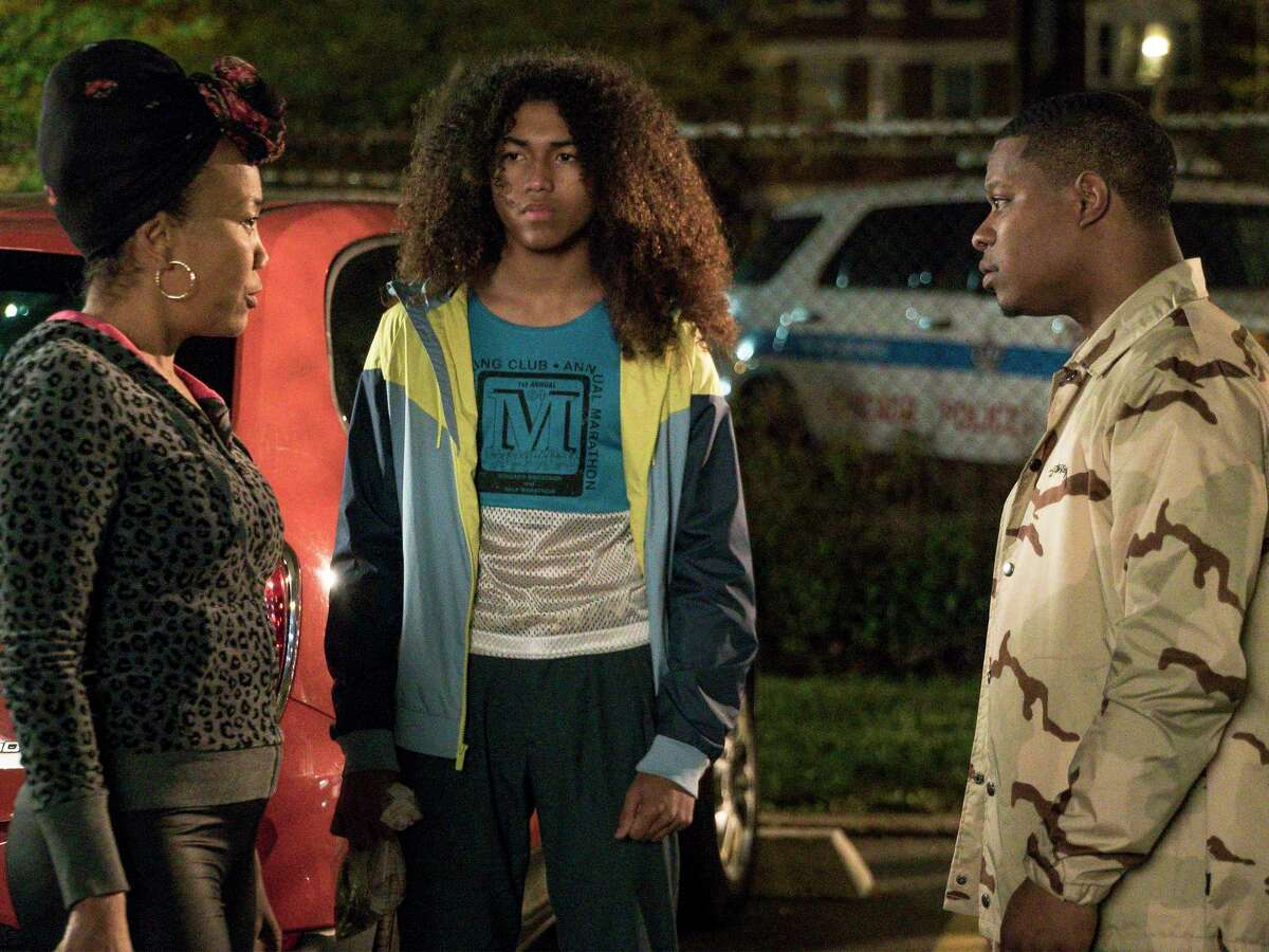 """Sonja Sohn as Laverne, Jahking Guillory as Coogie and Jason Mitchell as Brandon in """"The Chi."""""""