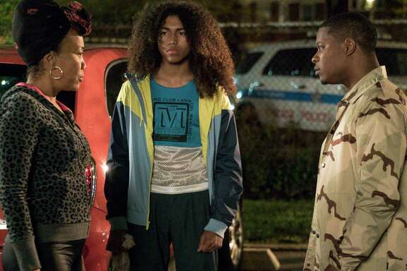 "Sonja Sohn as Laverne, Jahking Guillory as Coogie and Jason Mitchell as Brandon in ""The Chi."""