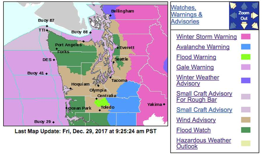 Western Washington was set to get a deluge of weather Friday, on top of the rain and mountain snow that had already fallen Thursday. The mix triggered a host of watches and warnings from the National Weather Service. Photo: NOAA