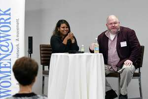 Straight Talk speaker, Aneesa Waheed, co-owner of Tara Kitchen, is interviewed by Steve Barnes of the Times Union on Wednesday, Oct. 11, 2017, at the Times Union in Colonie, N.Y. (Will Waldron/Times Union)