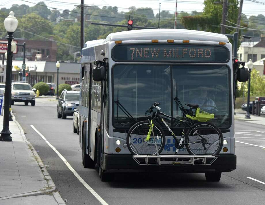 A HARTransit bus, route #7, heads out from downtown Danbury up to New Milford on Thursday, August 31, 2017. Danbury, Conn. Photo: H John Voorhees III / Hearst Connecticut Media / The News-Times