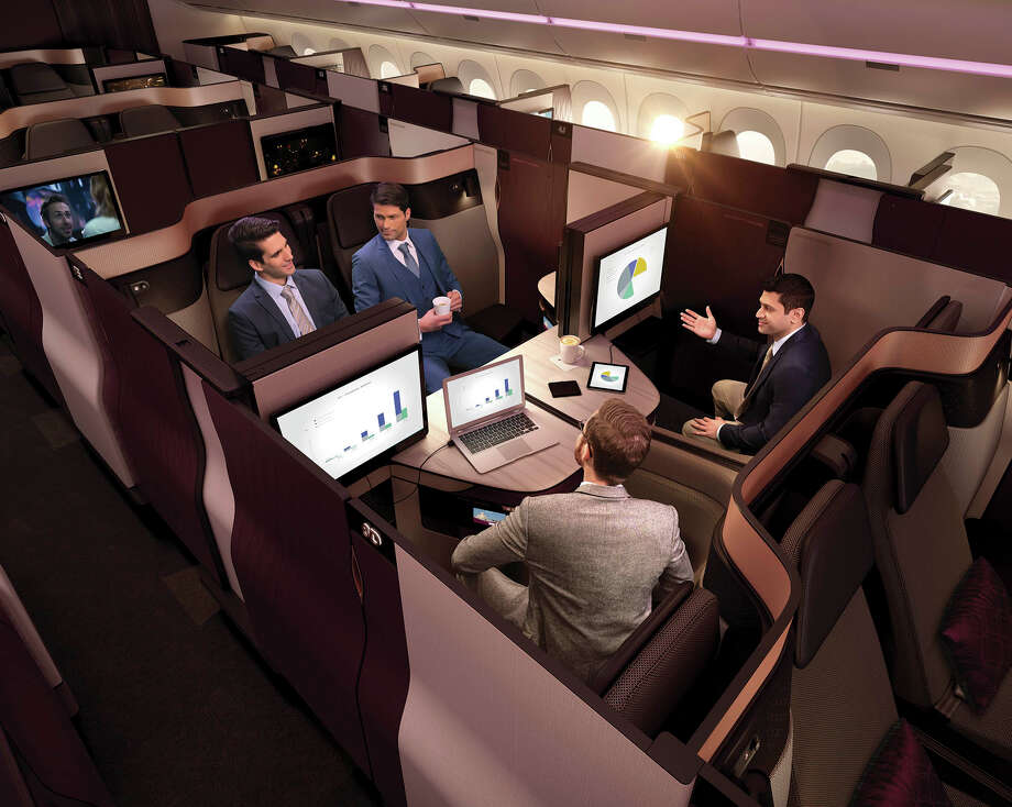A rendition of a living room of the modular Qsuite, Qatar Airways' new business-class product. Photo: Qatar Airways, Str / Bloomberg
