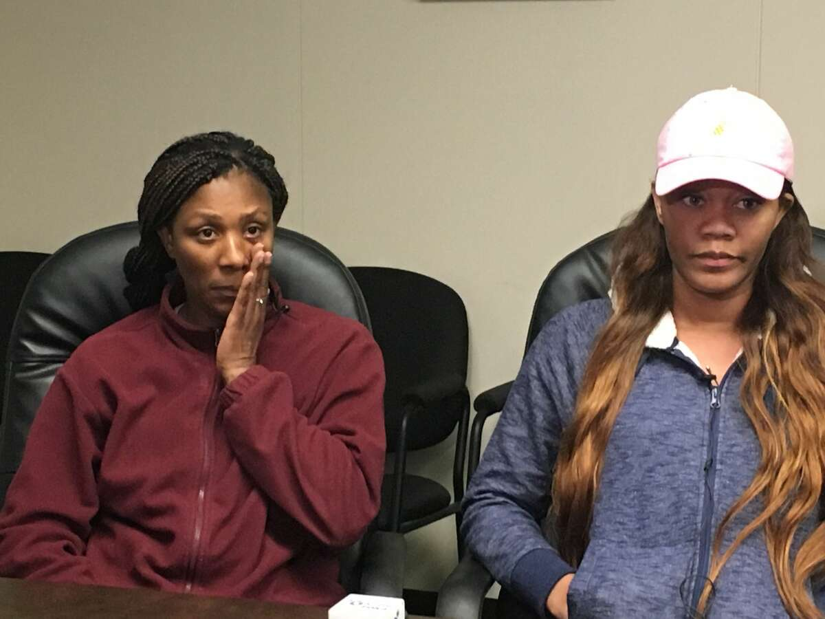 Tracie Blackshire, left, is the mother of Anthony Green. She was joined by his sister, Keandra Green, at the Beaumont Police Department the day after Anthony was murdered at a car wash.